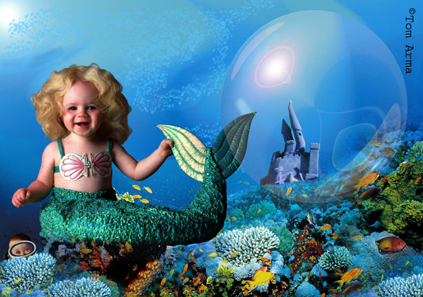 Mermaids Swimming Glitter Graphics Multiply