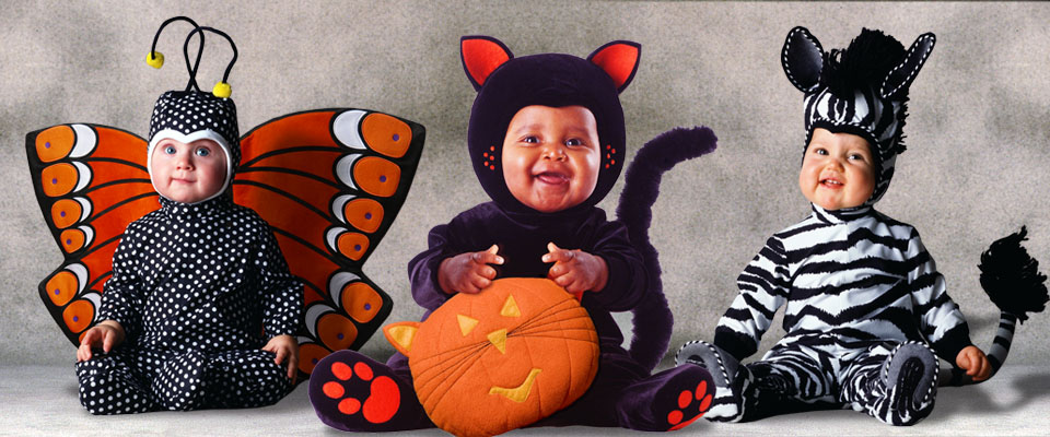 Butterfly, Black Cat with pumpkin toy, and Zebra baby costumes from the Tom Arma Signature collection for Halloween designed by renown baby photographer Tom Arma.