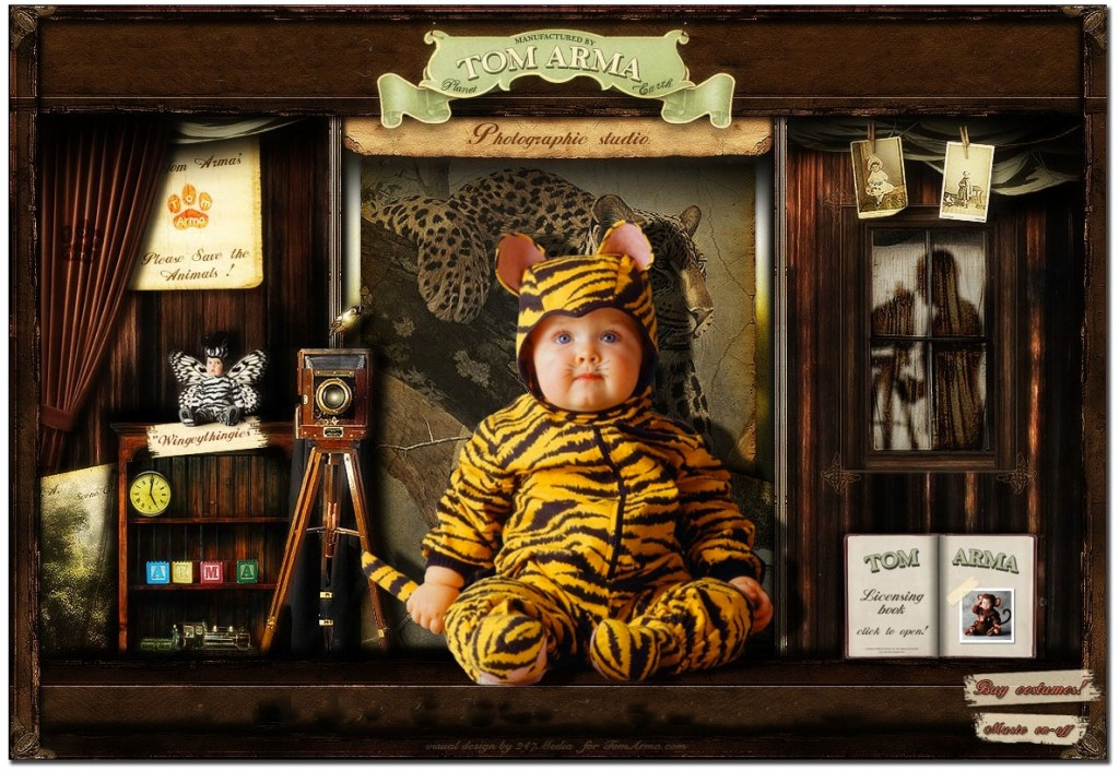 Virtual image of Tom Arma's baby photo studio, home of Tom Arma Licensing.