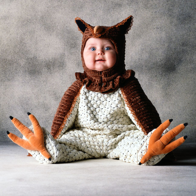 "Tom Arma's baby owl costume for his ""Please Save the Animals series."""